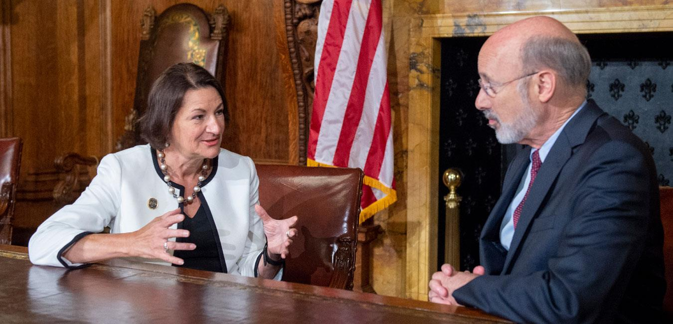 Representative Madden sitting and speaking with Governor Wolf in Governor's Reception Room