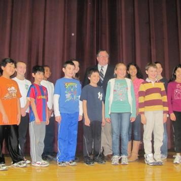 Rep. Briggs stands with students at Gladwyne Elementary after the presentations for his 3rd annual There Ought to be a Law essay contest.